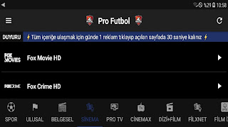 Android Telefonlarda - Super Apk TV Kanalları Spor ve Film izleyin
