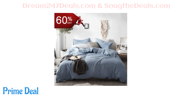 60% off 100% Cotton/Washed Microfiber Duvet Cover Sets, Twin/Full Queen/King Size