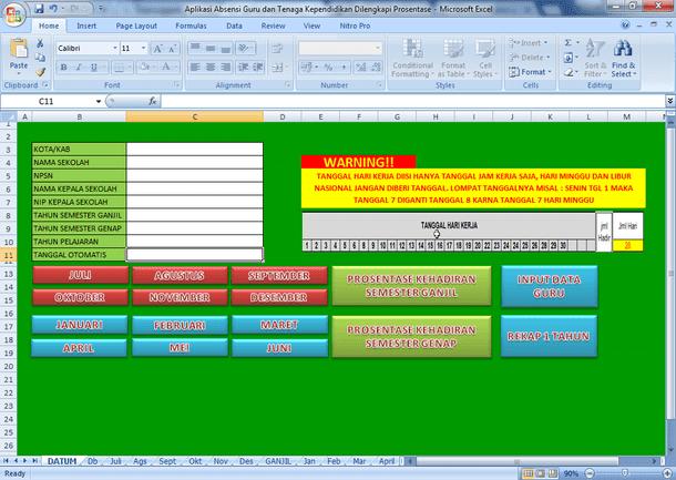 Aplikasi Absensi Guru dan Tenaga Kependidikan Format Microsoft Excel