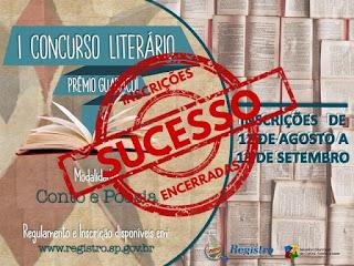 1º Concurso Literário de Registro-SP - PRÊMIO GUARACUÍ - recebe 395 inscrições