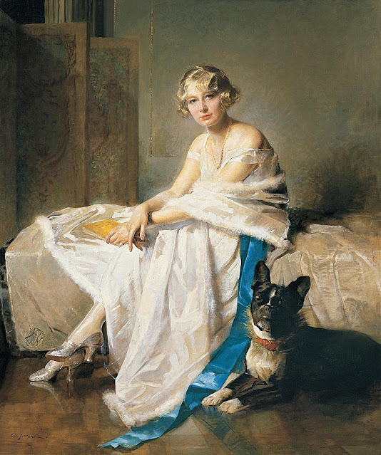 Charles Joseph Watelet - An Elegant Lady with her French Bulldog in an Interior