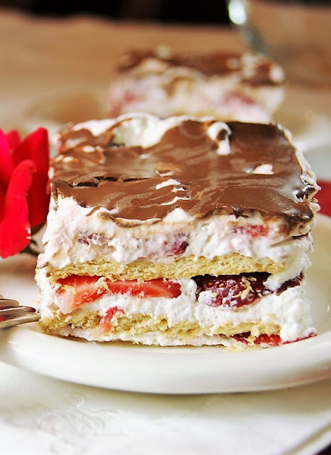 No-Bake Strawberry Ice Box Cake with Graham Crackers and Whipped Cream Image