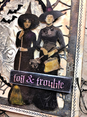 Sara Emily Barker http://sarascloset1.blogspot.com/ Toil and Trouble Card Using Tim Holtz Thinlits, Stamps and Ideaology 4