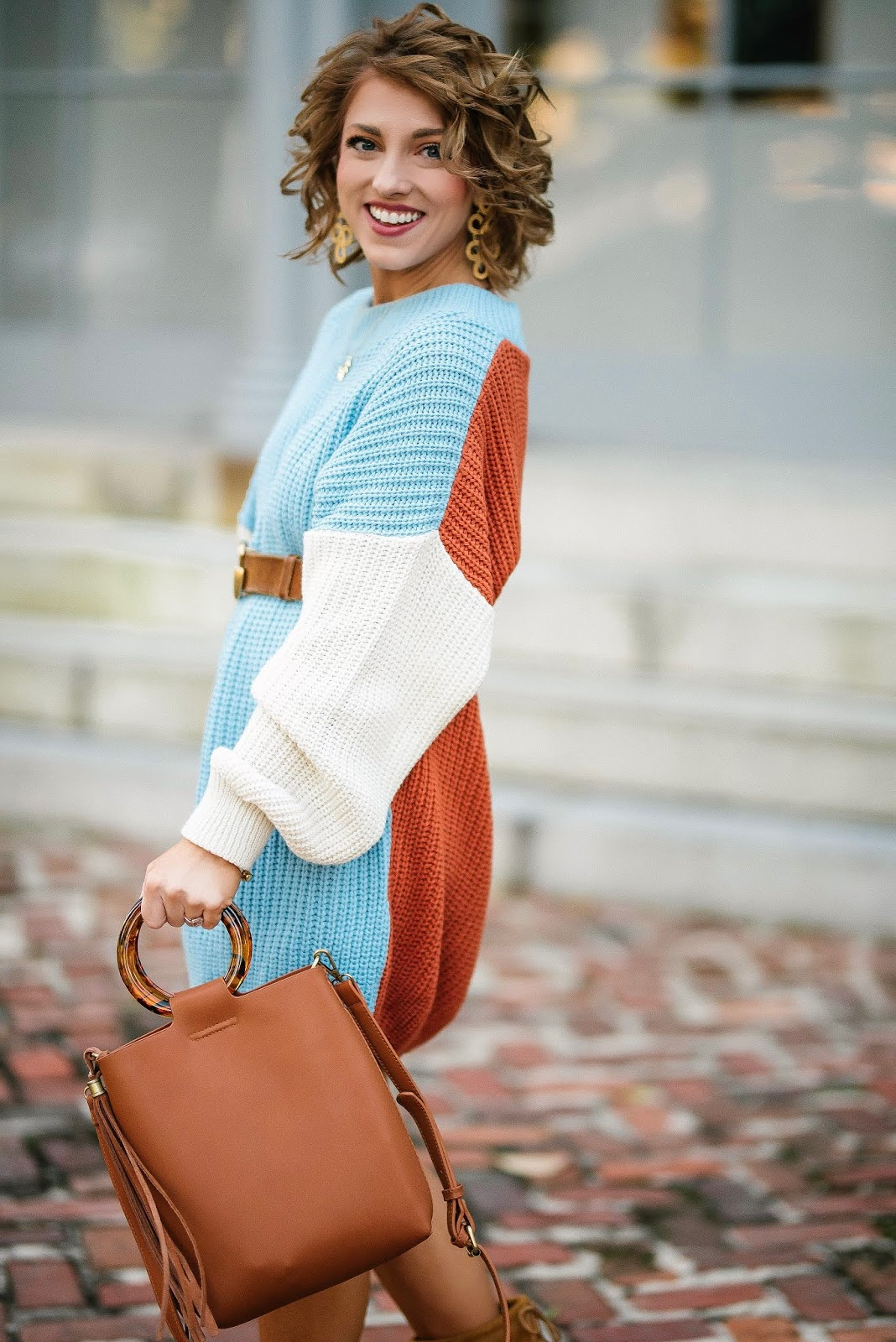 $40 Color Block Sweater Dress + Gucci Belt - Something Delightful Blog #fallfashion #fallstyle #sweaterdress