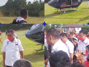 Helikopternya Mendarat di Desa Buhias, Olly Dondokambey disambut JG-KWL bersama Rakyat Pulau Mantehage