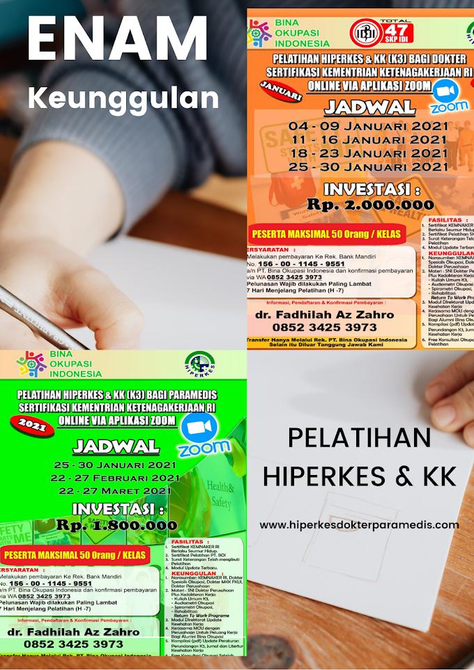 Enam Keunggulan Pelatihan HIPERKES dan Keselamatan Kerja (K3) Untuk Dokter dan Paramedis  Via Aplikasi Zoom Penyelenggara PT Bina Okupasi Indonesia