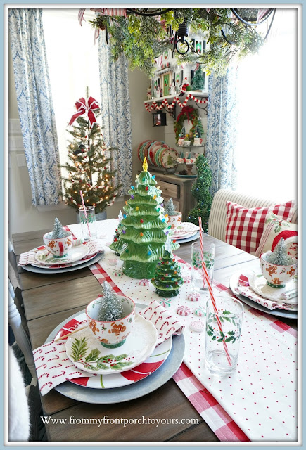 Cottage- Farmhouse -Christmas- Breakfast- Nook-Tablescape-table-setting-holiday-From My Front Porch To Yours