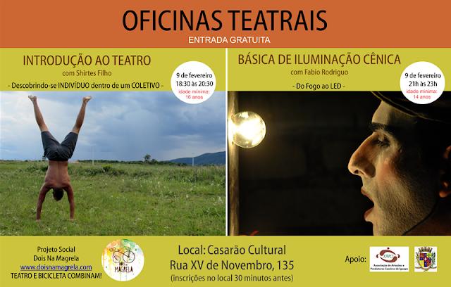 Chegam em Iguape duas oficinas teatrais: Oficina de Iluminação Cênica e Introdução ao Teatro