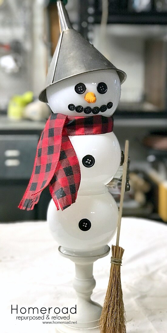 Light up snowman using repurposed parts