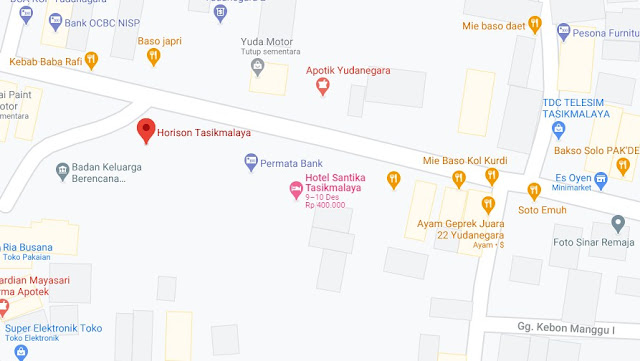 Map Letak Hotel Horison Tasikmalaya