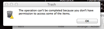 can not empty the Trash or move a file to the Trash on Mac OS X