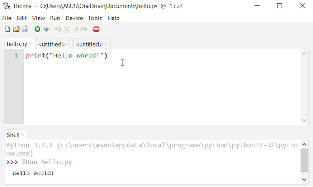 تشغيل بايثون على Thonny IDE