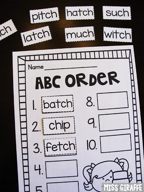 ABC order worksheet that is fun and hands on