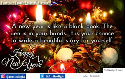 A new year is like a blank book. The pen is in your hands. It is your chance to write a beautiful story for yourself.