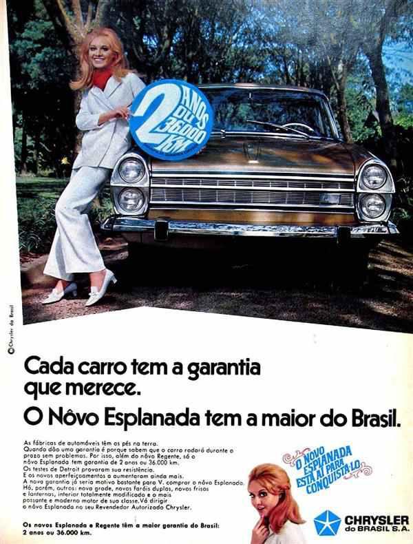 Propaganda antiga da Chrysler apresentando no Esplanada no final dos anos 60
