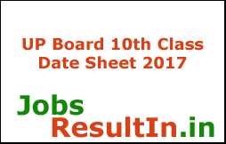 UP Board 10th Class Date Sheet 2017