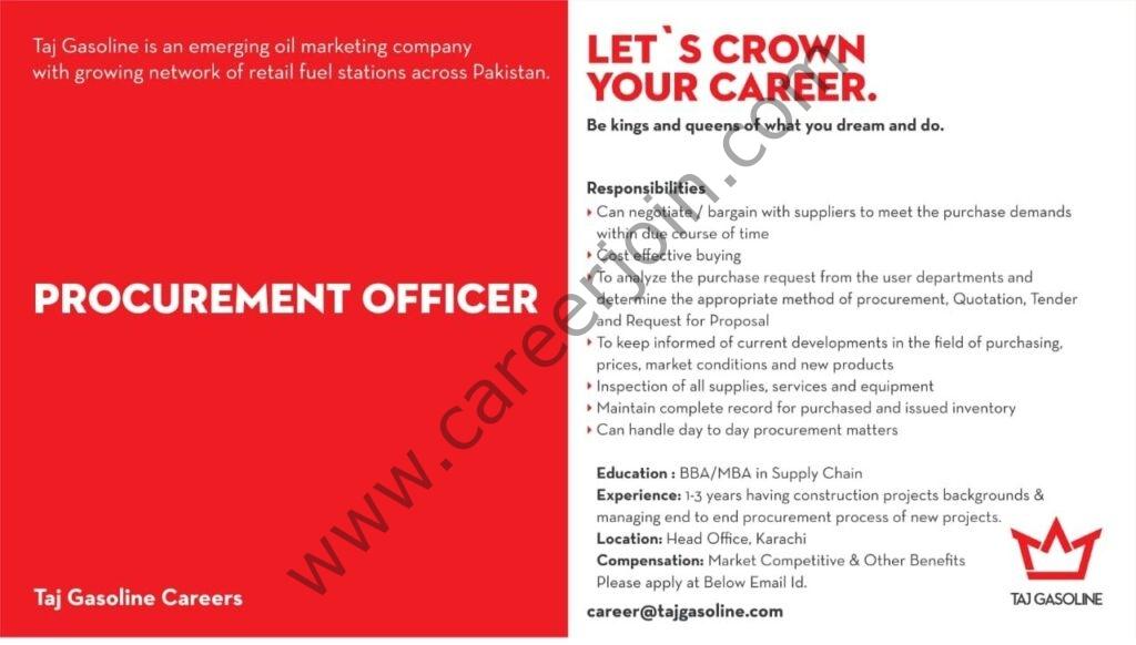 career@tajgasoline.com - Taj Gasoline Jobs in Pakistan 2021 For Procurement Officer