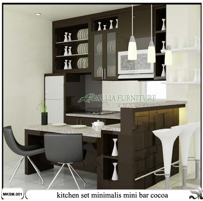 Kitchen Set Mini Bar Minimalis Cocoa Allia Furniture