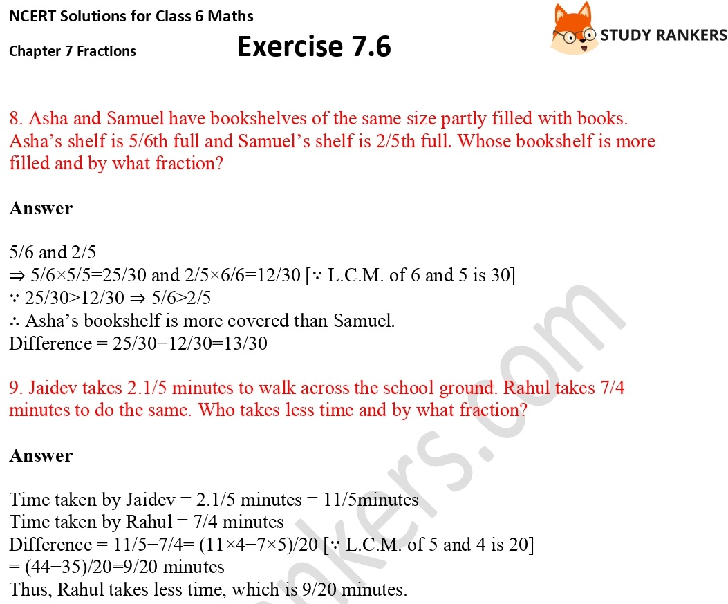 NCERT Solutions for Class 6 Maths Chapter 7 Fractions Exercise 7.6 Part 4