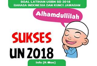SOAL LATIHAN USBN SD 2018 BAHASA INDONESIA DAN KUNCI JAWABAN