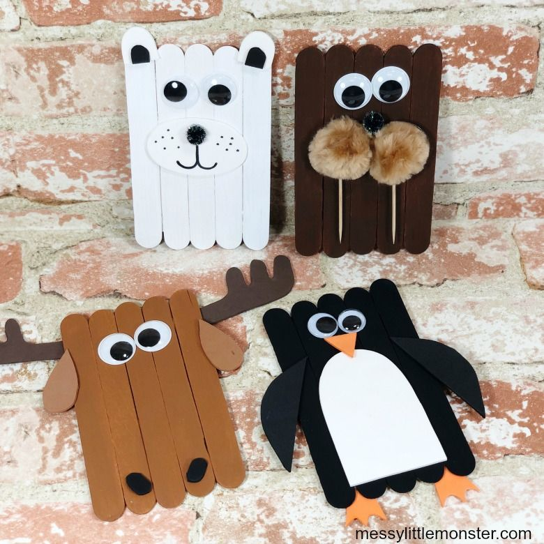 popsicle stick arctic animal winter crafts for kids