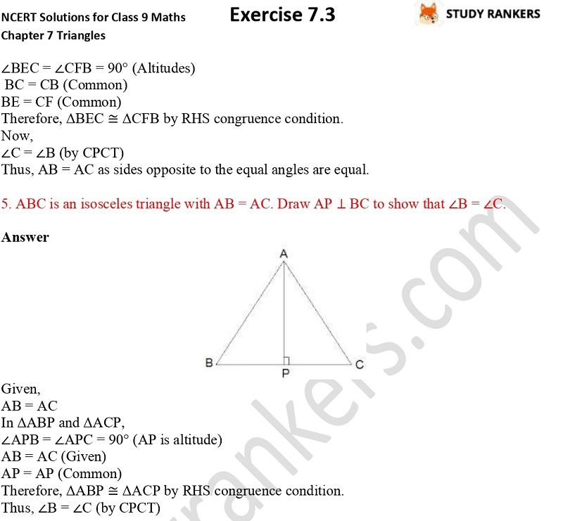 NCERT Solutions for Class 9 Maths Chapter 7 Triangles Exercise 7.3 Part 4