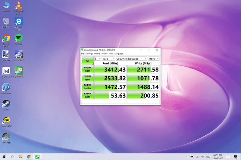 SSD read and write speeds