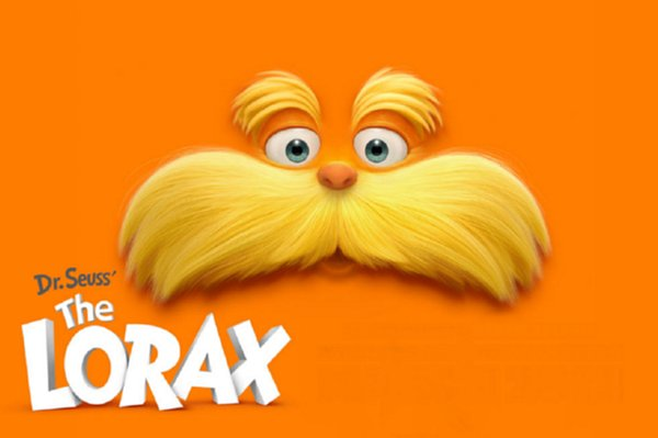 The Lorax - face of Lorax on orange background