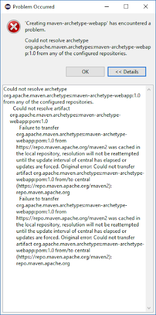 """error maven """"Could not resolve archetype from any of the configured repositories"""""""