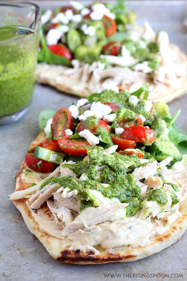 Chicken Hummus Wraps with Goat Cheese & Chimichurri Sauce