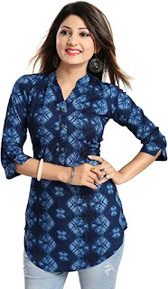Women's Printed Blue Rayon Top