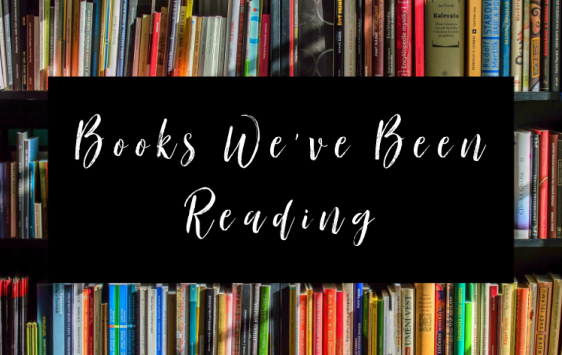 Image shows book shelves with lots of colourful books and has a banner across which is the logo for this Books We've Been Reading book review post.