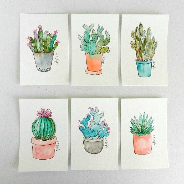 Mini Watercolor And Ink Cactus Illustrations By Elise Engh