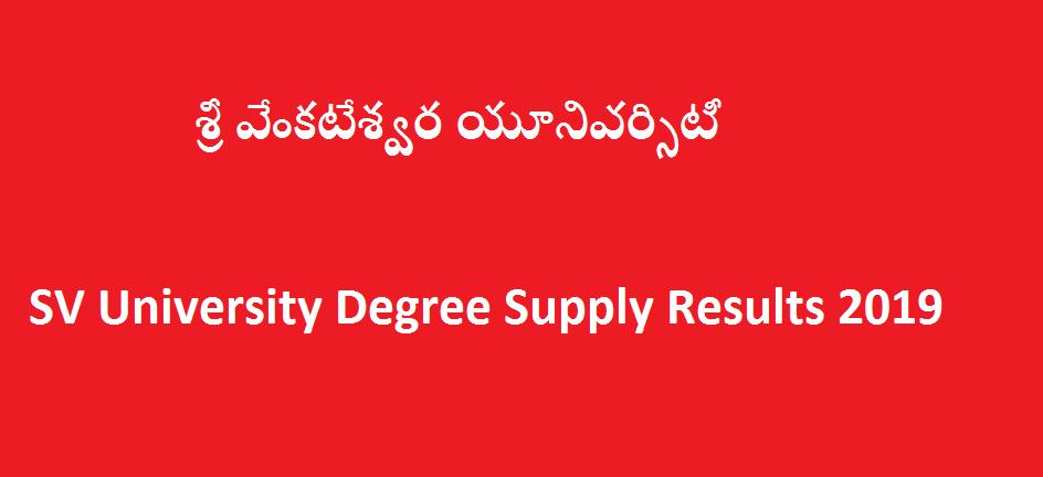 Manabadi SVU Degree Supply Results 2019