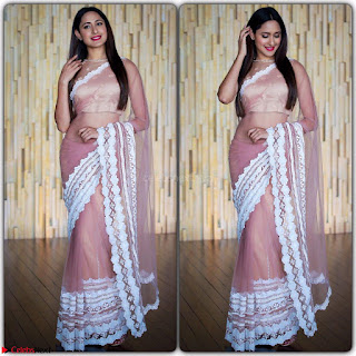 Pragya Jaiswal in lovely Transparent Lace Border Work Saree 3