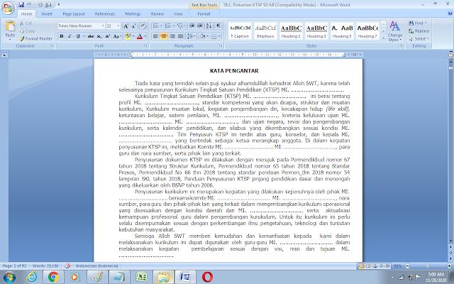 Contoh KTSP kurikulum 2013 SD/MI