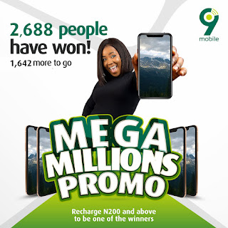 9Mobile Mega Millions Promo: Win A Smartphone Every hour and N1 Million When You Recharge