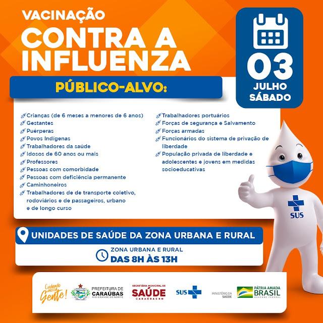 """Caraúbas realiza neste sábado o """"Dia D"""" da vacina contra o vírus Influenza"""