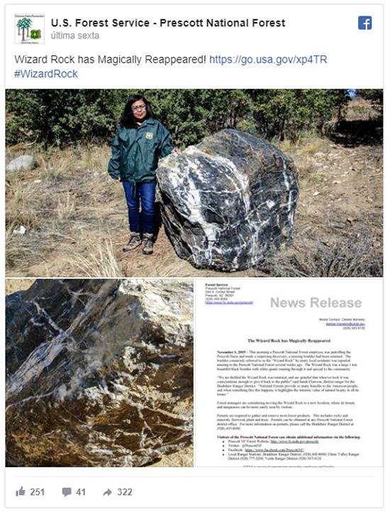 'Pedra mágica' gigante do Arizona desaparece misteriosamente e reaparece dias depois - Tweet
