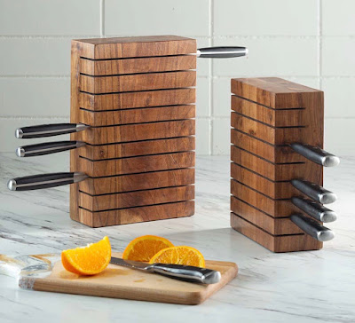 tall knife blocks, two sizes, that hold knives horizontally
