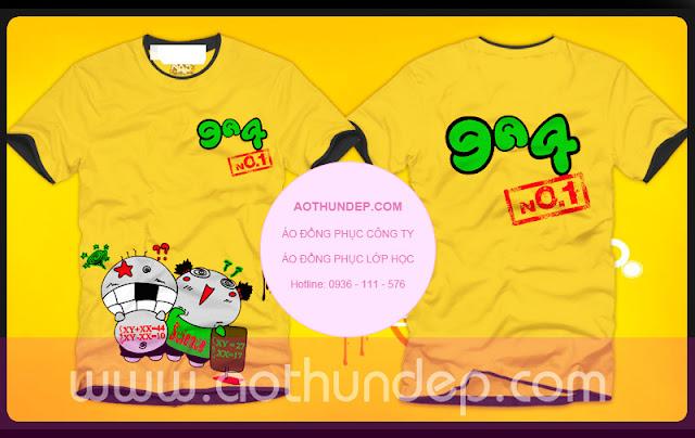 Áo lớp màu vàng, cổ tròn đen 9A4 No1 XY XX xanh lá