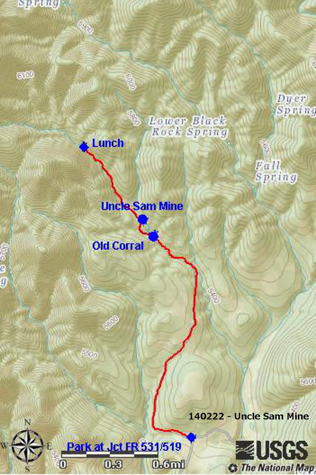 the elevation change was about 446 feet and the maximum elevation was 5701 feet the track is shown in red on the included map next page