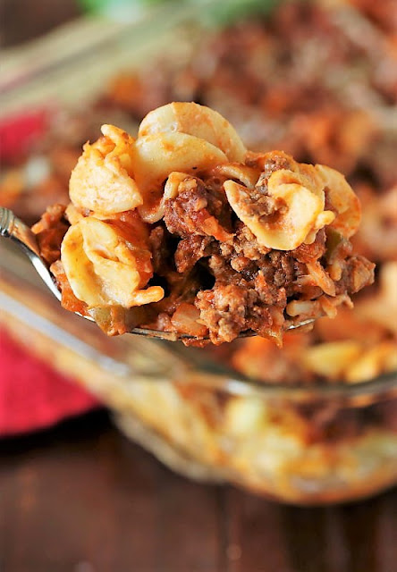 Serving Spoon of Hamburger Noodle Bake Image