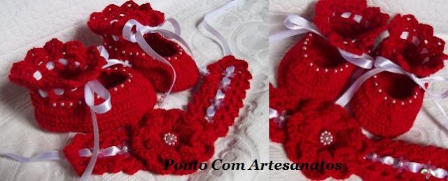 Conjuntos de Sapatinhos e Tiaras em crochê