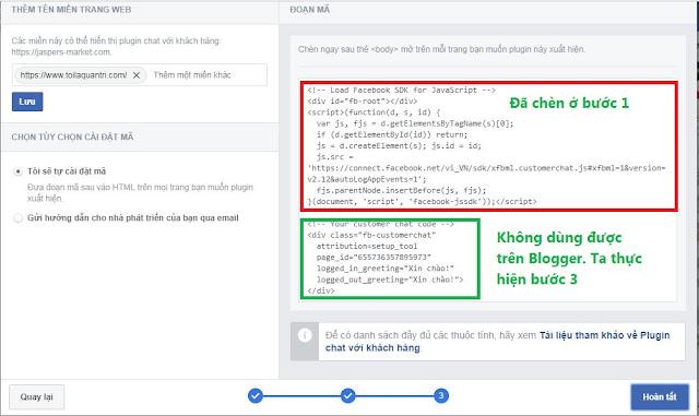 live chat Facebook mới nhất 2018 cho Blogspot