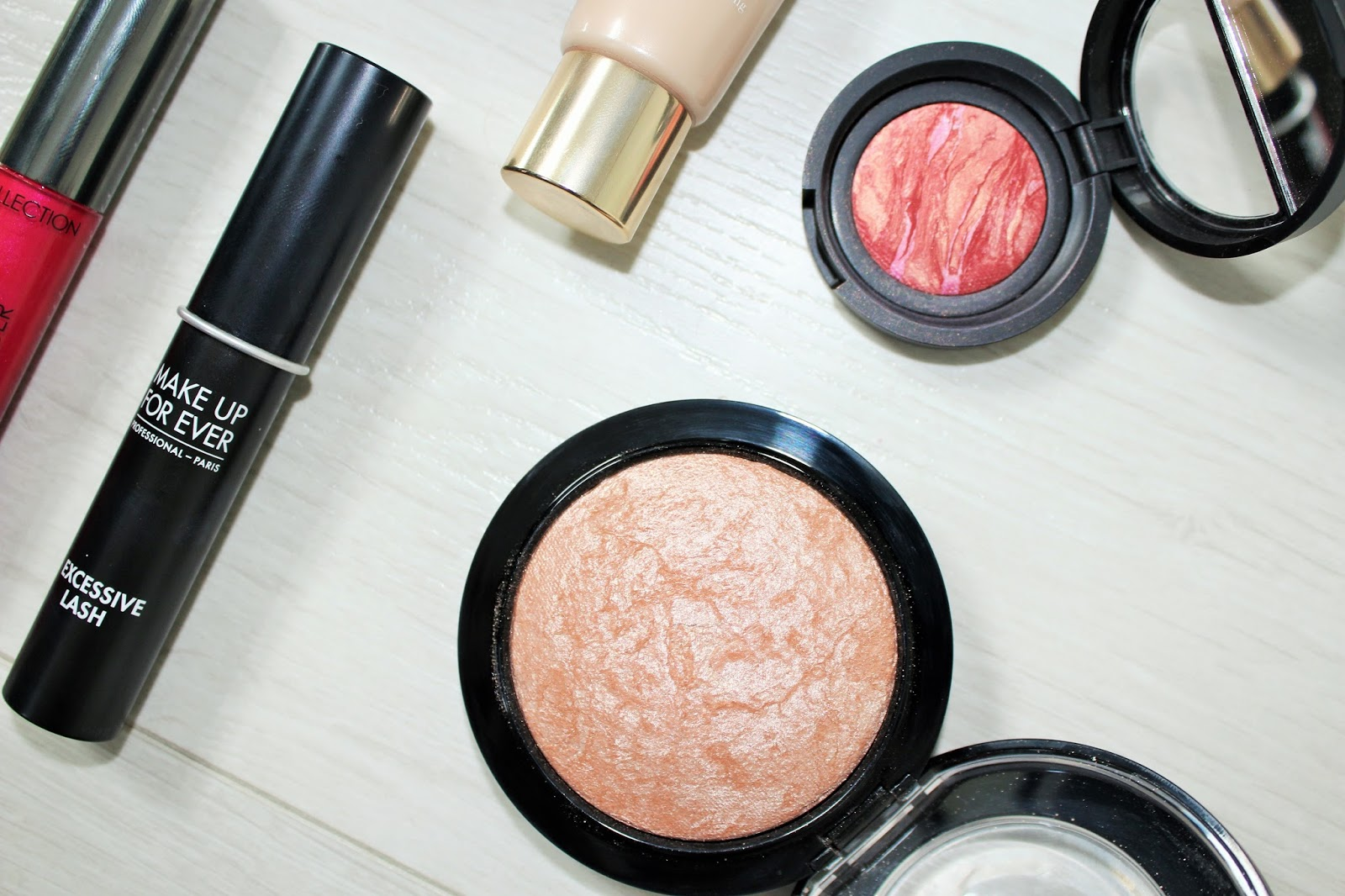 Sunsets and Raspberry Kisses 5 - Laura Geller Baked Blush-n-Brighten in Tropic Hues and Mac Soft and Gentle