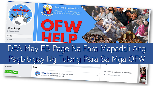 "To further improve and hasten rendering services to the   overseas Filipino  workers (OFW), the Department of Foreign Affairs (DFA) launched their social media page.  Upang mas mapagbuti at mapabilis ang pagbibigay ng serbisyo sa mga overseas Filipino  workers (OFW), naglunsad ng social media page ang Department of Foreign Affairs (DFA).      Ads  Inilunsad ng DFA ang ""OFW Help"" Facebook Page upang mabigyan ng bagong sistema ang mga distressed OFW upang maiparating sa gobyerno ang kanilang mga hiling at agarang tulong.  Ito ay pinangangasiwaan ng  DFA-Office of the Undersecretary for Migrant Workers' Affairs (OUMWA). Layunin nito na magbigay ng tulong sa mga OFW na mga undocumented o  hindi mga miyembro ng Overseas Workers Welfare Administration (OWWA) na kailangan ng agarang tulong. Ads          Sponsored Links        ""It aims to provide a more preferable system in receiving request for assistance from the next-of-kin of OFWs and OUMWA case officers. Especially if the client is unable to contact the OUMWA hotline or travel to the nearest Post,"" ayon sa nakasulat sa profile nito.  Ang OUMWA ang pangunahing tanggapan na inatasang humawak sa mga paghingi ng tulong ng mga kamag-anak ng OFW o ng mga OFW mismo.  Ang mga request ay inire-refer naman sa Philippine Embassy o sa konsulado ng bansa kung saan naroon ang kailangang bigyan ng tulong na siya namang gumagawa ng hakbang upang makipag-ugnayan sa employer at sa iba pang kinauukulan upang bigyan ng tulong ang distressed OFW.    Ads    The DFA now has ""OFW Help"" Facebook Page giving distressed OFWs a new avenue to get in touch with the government regarding their plea for help and immediate assistance.    It is under the DFA-Office of the Undersecretary for Migrant Workers' Affairs (OUMWA). Its goal is to render assistance to the undocumented or OFWs who are not members of  the Overseas Workers Welfare Administration (OWWA) who need immediate help.  Ads          Sponsored Links        ""It aims to provide a more preferable system in receiving request for assistance from the next-of-kin of OFWs and OUMWA case officers. Especially if the client is unable to contact the OUMWA hotline or travel to the nearest Post,"" according to its profile.     OUMWA  is the prime office mandated to handle cases of the OFWs appealed  y their relatives in the Philippines or the OFWs themselves.  The requests are then referred to the Philippine Embassy or consulates of the host country where the OFWs is located. They are the ones who communicate with with the employer and other concerned agencies which can provide assistance to the OFWs in distress."