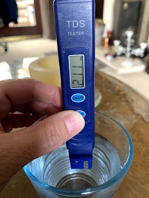 Total Dissolved Solids (TDS) digital meter showing TDS of tap water