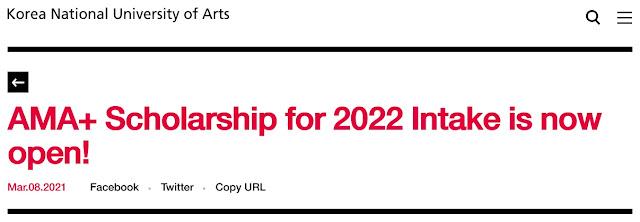 Beasiswa Kuliah Seni S1 – S2 Korea Art Major Asian (AMA) Scholarship 2022