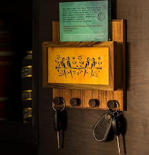 ExclusiveLane Sanjhi Work Key Holder Masterpiece Crafted in Teak Wood